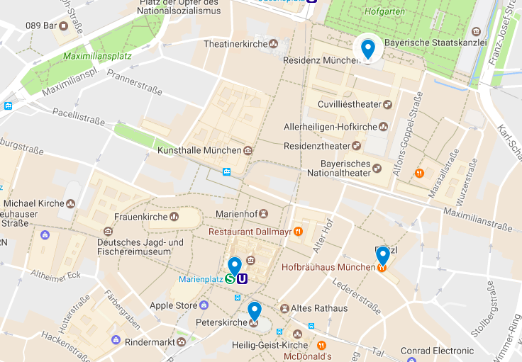 Old Town Munich Map