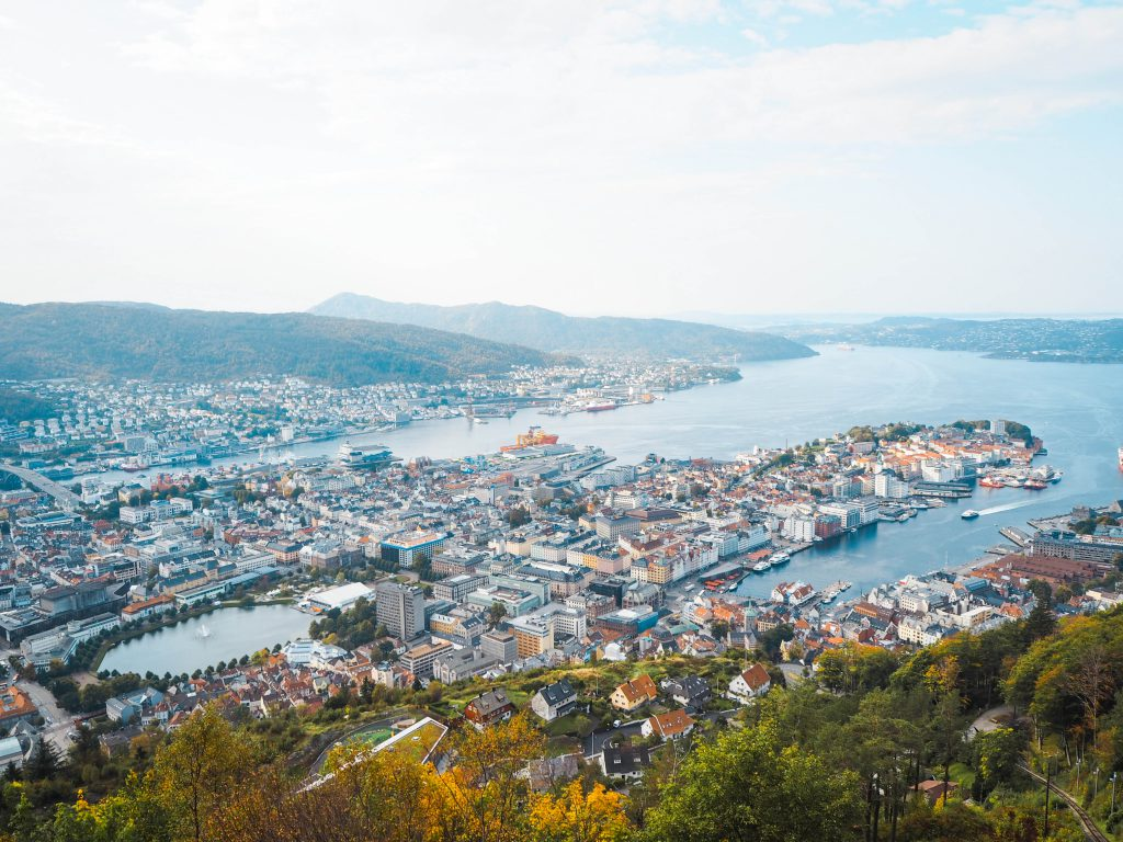 View from Mt. Fløyen Observation Deck in Bergen, Norway