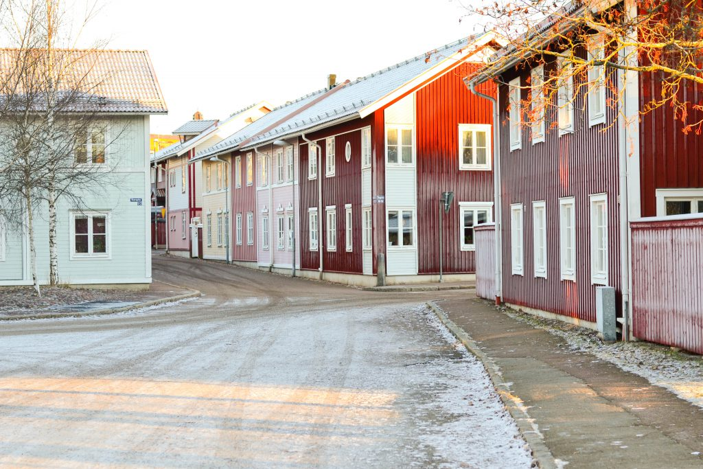 Snowy neighbourhood in Falun, Sweden