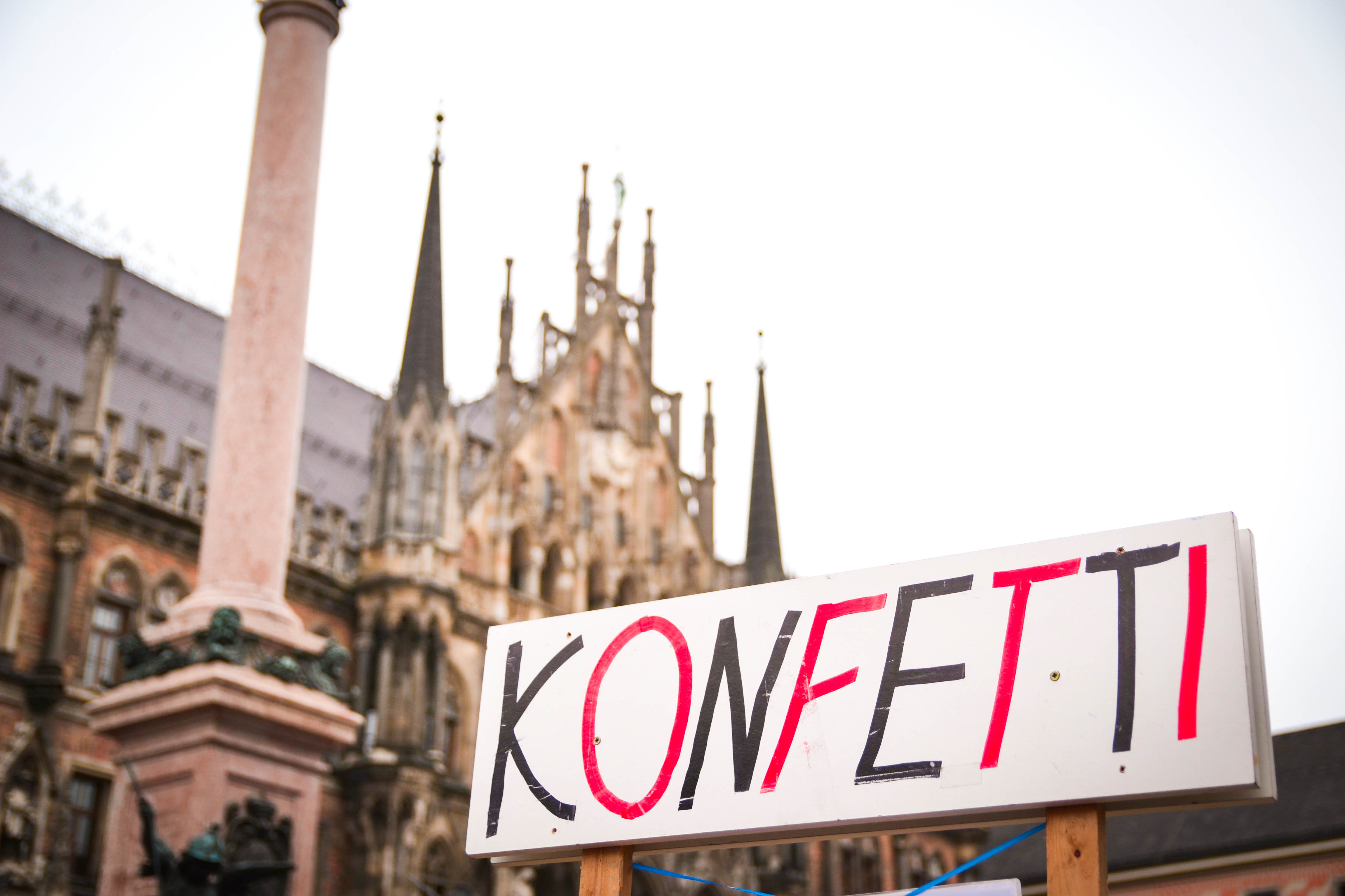Konfetti Sign During Fasching in Munich