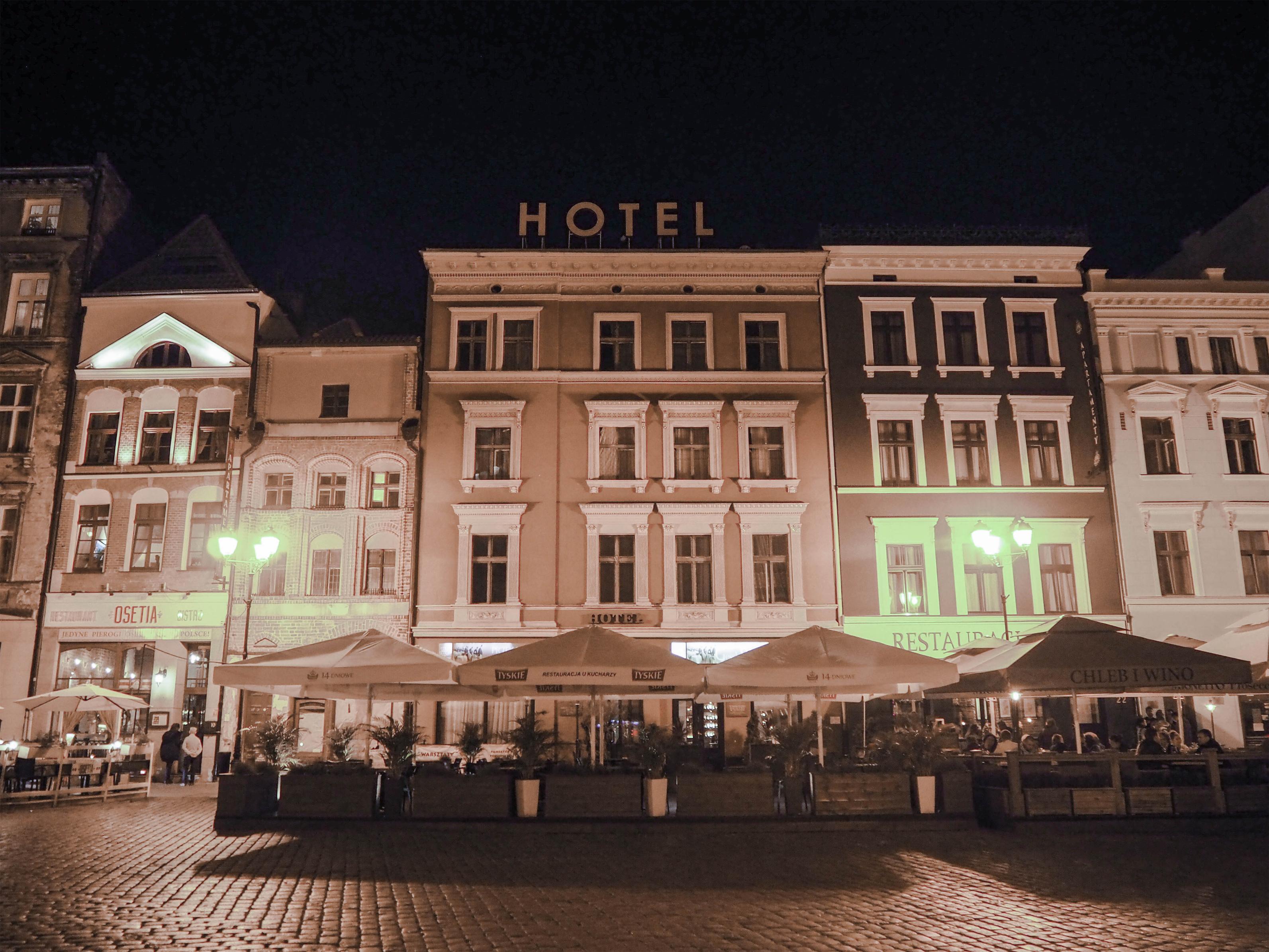 Torun, Poland Old Town Square at Night