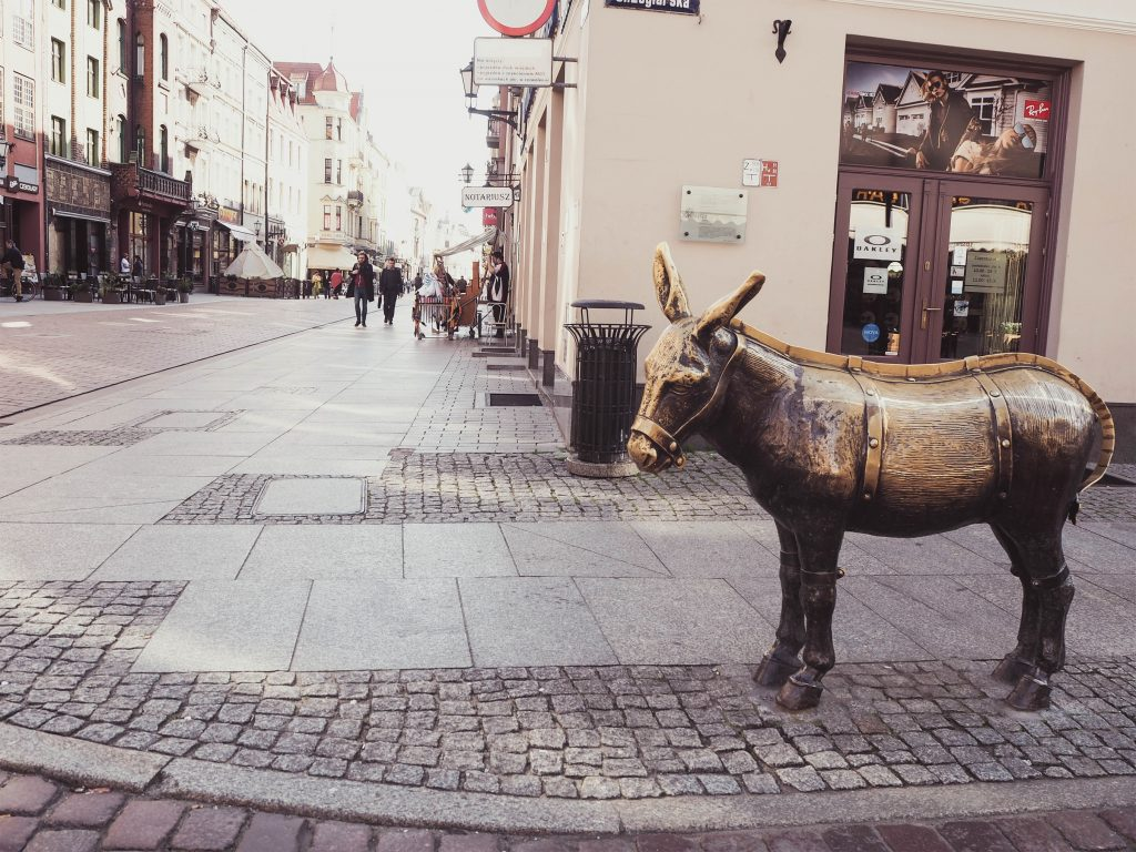 Torun, Poland Bronze Donkey Statue