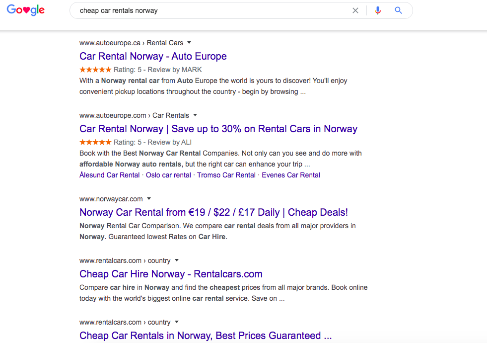 Cheap Car Rentals in Norway SERP
